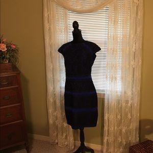 Tadashi Shoji dress. Blue with black lace overlay
